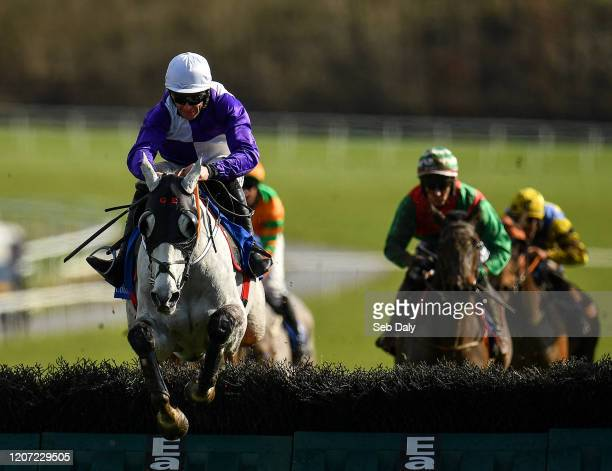 Limerick Ireland 15 March 2020 Cherif De L'isle with Davy Russell up jumps the last on their way to winning the Follow Limerick Racecourse On Twitter...