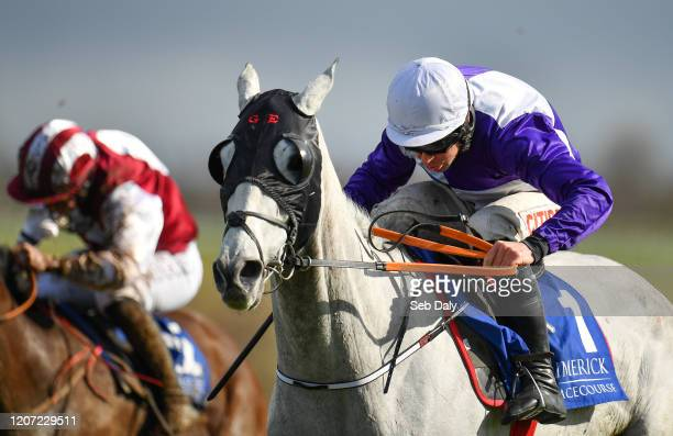 Limerick Ireland 15 March 2020 Cherif De L'isle with Davy Russell up on their way to winning the Follow Limerick Racecourse On Twitter Handicap...