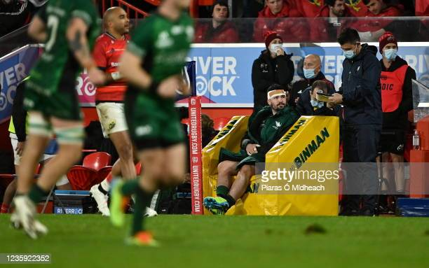 Limerick , Ireland - 16 October 2021; Sammy Arnold of Connacht serves his time in the sinbin, for a high tackle on Mike Haley of Munster, during the...