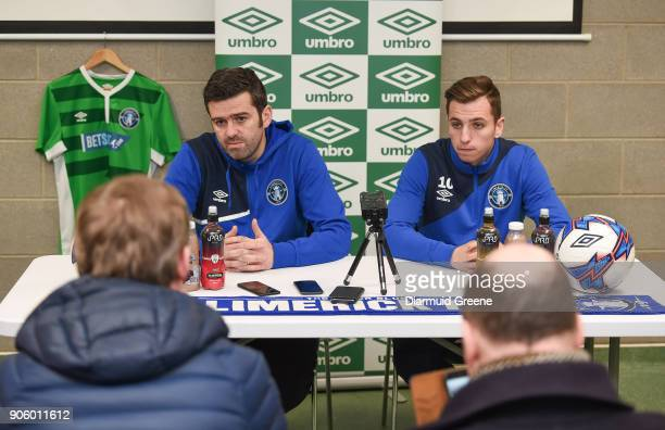 Limerick Ireland 17 January 2018 Newly announced Limerick FC manager Tommy Barrett with new signing Connor Ellis during a press conference at the...