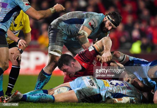 Limerick Ireland 19 January 2019 Peter OMahony of Munster gets involved in a ruck during the Heineken Champions Cup Pool 2 Round 6 match between...