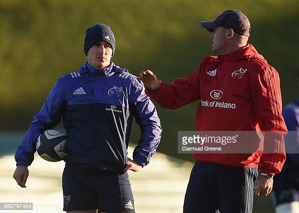 Limerick Ireland 2 January 2017 Munster defence coach Jacques Nienaber in conversation with Ian Keatley during squad training at University of...