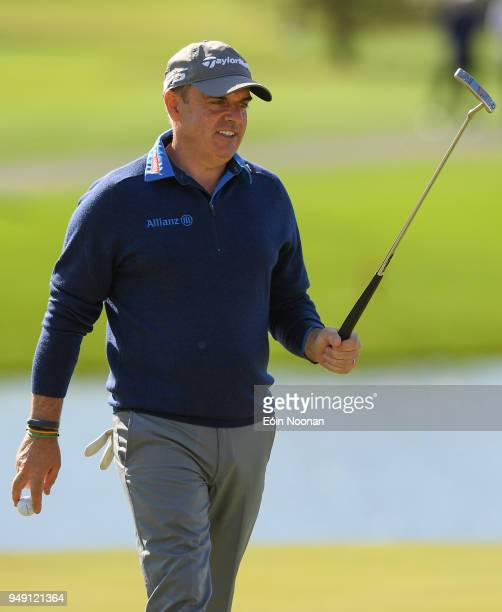 Limerick Ireland 20 April 2018 Paul McGinley of Ireland acknowledges the crowd after making a putt on the fifteenth hole during the JP McManus ProAm...