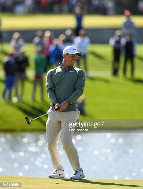 Limerick Ireland 20 April 2018 Rory McIlroy of Northern Ireland reacts after a missed putt on the fifteenth green during the JP McManus ProAm Launch...