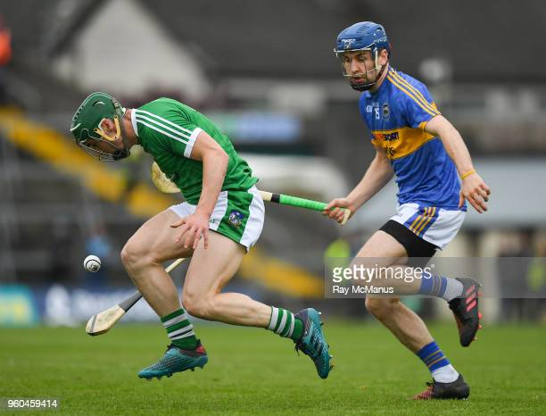 Limerick Ireland 20 May 2018 Sean Finn of Limerick in action against John McGrath of Tipperary during the Munster GAA Hurling Senior Championship...