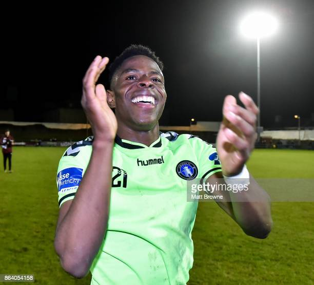 Limerick Ireland 20 October 2017 Chiedozie Ogbene of Limerick FC celebrates after the SSE Airtricity League Premier Division match between Limerick...