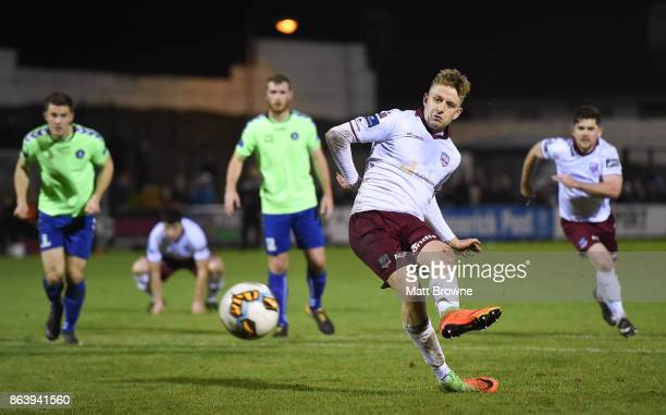 Limerick Ireland 20 October 2017 Eoin McCormack of Galway United scores from a penalty during the SSE Airtricity League Premier Division match...