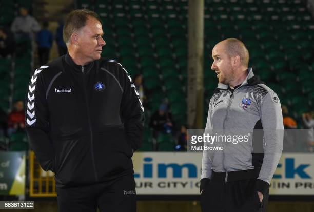Limerick Ireland 20 October 2017 Limerick FC manager Neil McDonald with Galway United manager Shane Keegan before the SSE Airtricity League Premier...