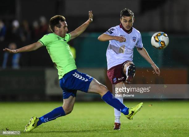 Limerick Ireland 20 October 2017 Marc Ludden of Galway United in action against Stephen Kenny of Limerick FC during the SSE Airtricity League Premier...