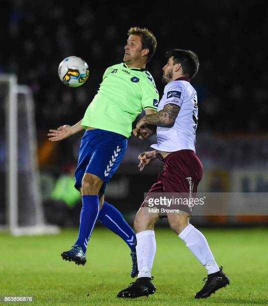 Limerick Ireland 20 October 2017 Rodrigo Tosi of Limerick FC in action against Niall Maher of Galway United during the SSE Airtricity League Premier...