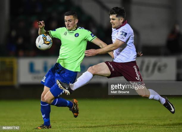 Limerick Ireland 20 October 2017 Ronan Murray of Galway United in action against Tony Whitehead of Limerick FC during the SSE Airtricity League...