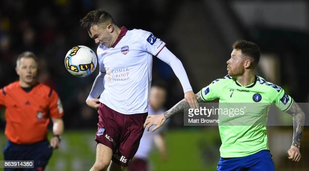 Limerick Ireland 20 October 2017 Rory Hale of Galway United in action against LeeJ Lynch of Limerick FC during the SSE Airtricity League Premier...
