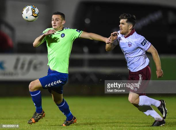 Limerick Ireland 20 October 2017 Tony Whitehead of Limerick FC in action against Ronan Murray of Galway United during the SSE Airtricity League...