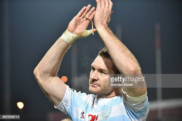 Limerick Ireland 21 January 2017 Ali Williams of Racing 92 acknowlesges the supporters after the European Rugby Champions Cup Pool 1 Round 6 match...