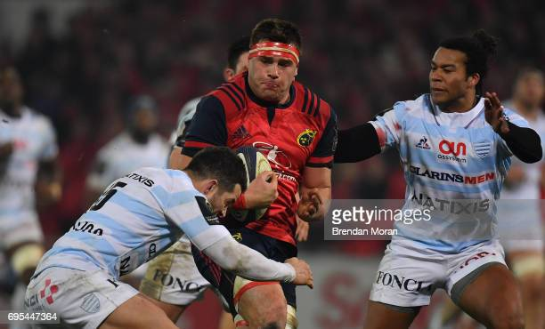 Limerick Ireland 21 January 2017 CJ Stander of Munster in action against Brice Dulin left and Teddy Thomas of Racing 92 during the European Rugby...