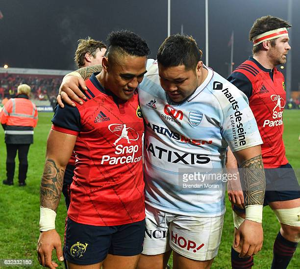 Limerick Ireland 21 January 2017 Francis Saili left of Munster and Ben Tameifuna of Racing 92 after the European Rugby Champions Cup Pool 1 Round 6...