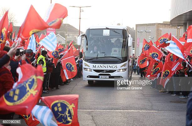 Limerick Ireland 21 January 2017 The Racing 92 team bus is welcomed by Munster and Racing 92 supporters ahead of the European Rugby Champions Cup...