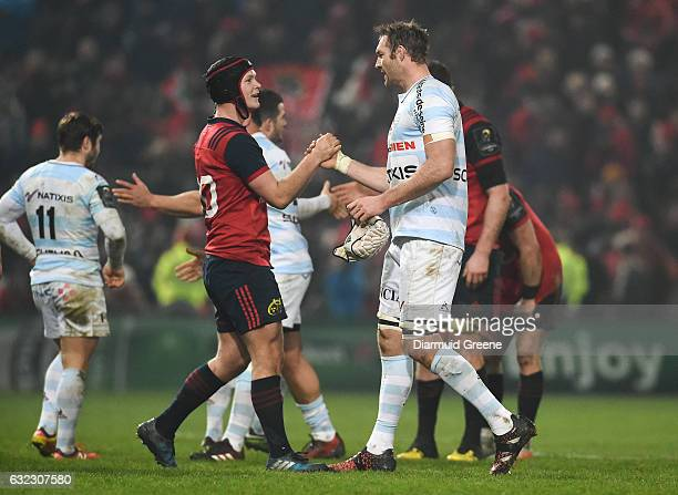 Limerick Ireland 21 January 2017 Tyler Bleyendaal of Munster exchanges a handshake with fellow New Zealander Ali Williams of Racing 92 after the...