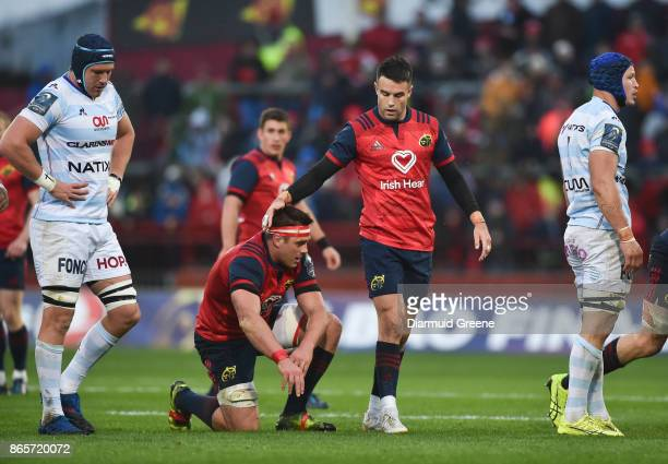 Limerick Ireland 21 October 2017 CJ Stander of Munster gets a pat on the head from teammate Conor Murray during the European Rugby Champions Cup Pool...