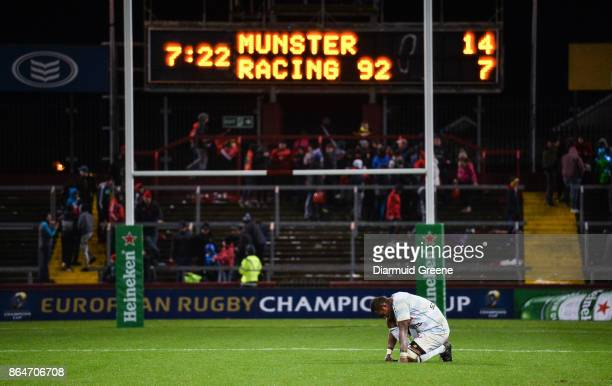 Limerick Ireland 21 October 2017 Leone Nakawara of Racing 92 reacts after the European Rugby Champions Cup Pool 4 Round 2 match between Munster and...