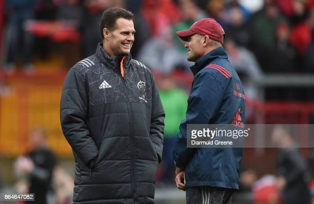 Limerick Ireland 21 October 2017 Munster Director of Rugby Rassie Erasmus left with defence coach Jacques Nienaber ahead of the European Rugby...
