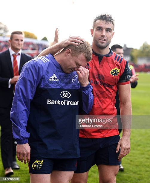 Limerick Ireland 22 October 2016 Keith Earls of Munster is consoled by teammate Conor Murray after the European Rugby Champions Cup Pool 1 Round 2...