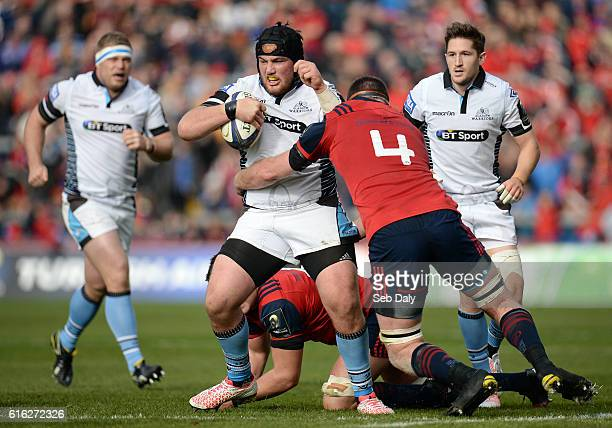 Limerick Ireland 22 October 2016 Zander Fagerson of Glasgow Warriors is tackled by Donnacha Ryan of Munster during the European Rugby Champions Cup...