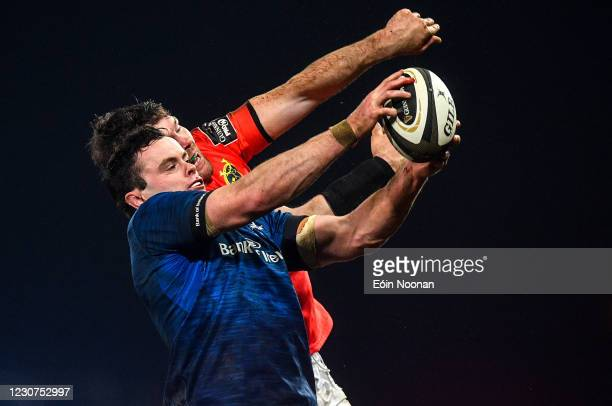 Limerick , Ireland - 23 January 2021; James Ryan of Leinster wins a lineout from Peter OMahony of Munster during the Guinness PRO14 match between...