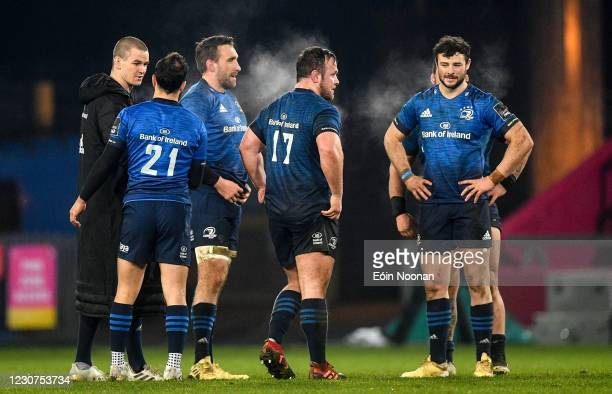 Limerick , Ireland - 23 January 2021; Leinster players, from left, Jonathan Sexton, Jamison Gibson-Park, Jack Conan, Ed Byrne and Robbie Henshaw...