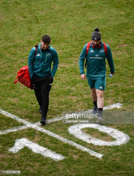 Limerick , Ireland - 23 March 2019; Bill Johnston, left, and Sam Arnold of Munster arrive prior to the Guinness PRO14 Round 18 match between Munster...