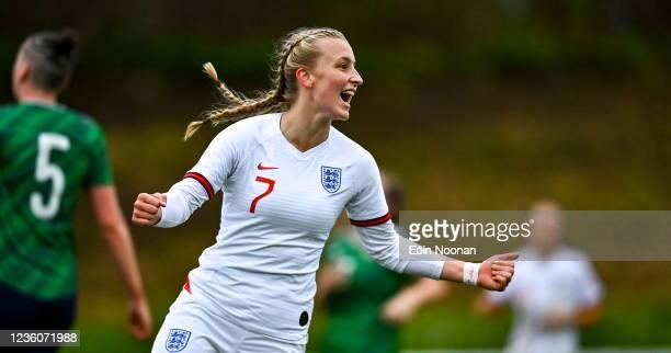 Limerick , Ireland - 23 October 2021; Agnes Beever-Jones of England celebrates after scoring her side's seventh goal during the UEFA Women's U19...