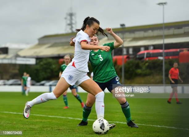 Limerick , Ireland - 23 October 2021; Deearna Goodwin of England in action against Ella Haughey of Northern Ireland during the UEFA Women's U19...