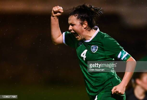 Limerick , Ireland - 23 October 2021; Della Doherty of Republic of Ireland celebrates after her side's first goal, scored by team-mate Emma Bucci,...