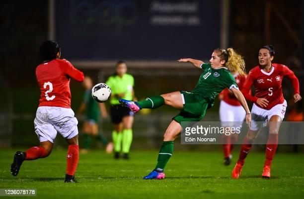 Limerick , Ireland - 23 October 2021; Ellen Molloy of Republic of Ireland in action against Ella Touon of Switzerland during the UEFA Women's U19...