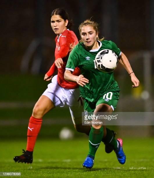 Limerick , Ireland - 23 October 2021; Ellen Molloy of Republic of Ireland in action against Giulia Schlup of Switzerland during the UEFA Women's U19...