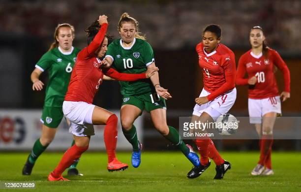 Limerick , Ireland - 23 October 2021; Ellen Molloy of Republic of Ireland in action against Elena Mühlemann of Switzerland during the UEFA Women's...