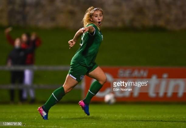 Limerick , Ireland - 23 October 2021; Ellen Molloy of Republic of Ireland celebrates after scoring her side's second goal during the UEFA Women's U19...