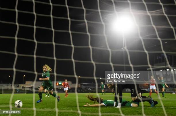 Limerick , Ireland - 23 October 2021; Ellen Molloy of Republic of Ireland on her way to scoring her side's second goal during the UEFA Women's U19...