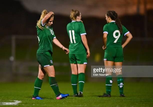Limerick , Ireland - 23 October 2021; Ellen Molloy of Republic of Ireland reacts after the UEFA Women's U19 Championship Qualifier match between...
