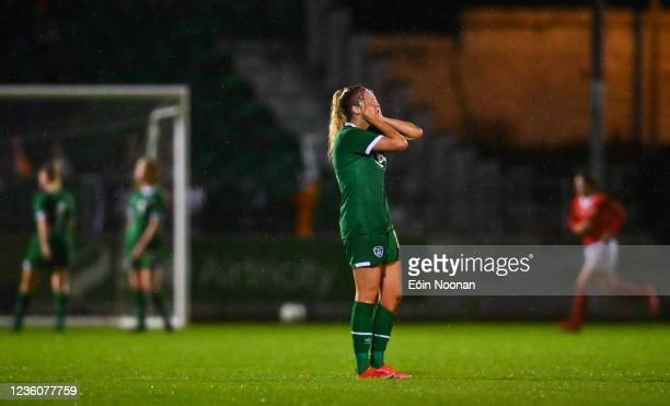 Limerick , Ireland - 23 October 2021; Erin Mc Laughlin of Republic of Ireland reacts after her side concede their third goal during the UEFA Women's...