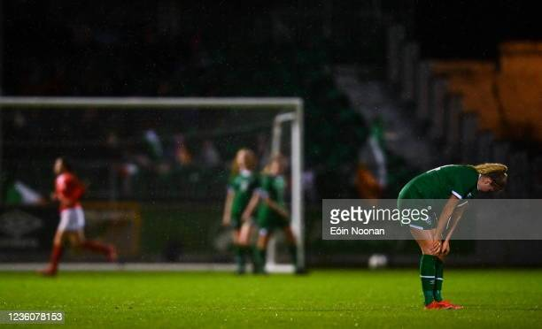 Limerick , Ireland - 23 October 2021; Erin Mc Laughlin of Republic of Ireland reacts after her side concede their side's third goal during the UEFA...