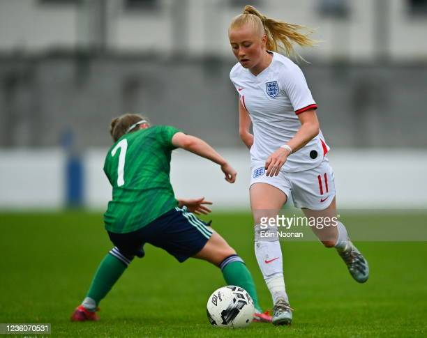 Limerick , Ireland - 23 October 2021; Freya Gregory of England in action against Kathryn Dickson of Northern Ireland during the UEFA Women's U19...