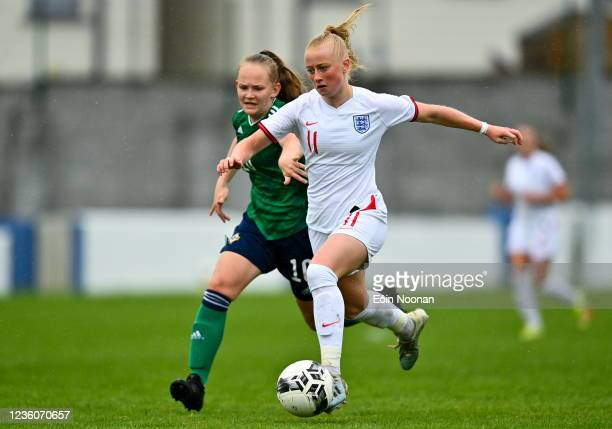 Limerick , Ireland - 23 October 2021; Freya Gregory of England in action against Abbie McHenry of Northern Ireland during the UEFA Women's U19...
