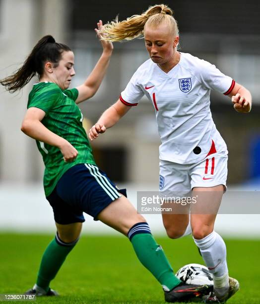 Limerick , Ireland - 23 October 2021; Freya Gregory of England in action against Darcy Boyle of Northern Ireland during the UEFA Women's U19...