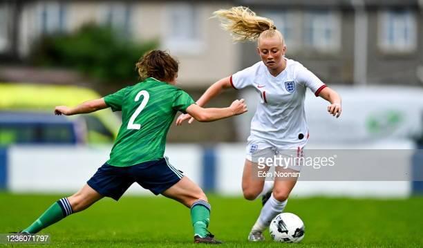 Limerick , Ireland - 23 October 2021; Freya Gregory of England in action against Sarah Jane Mcmaster of Northern Ireland during the UEFA Women's U19...