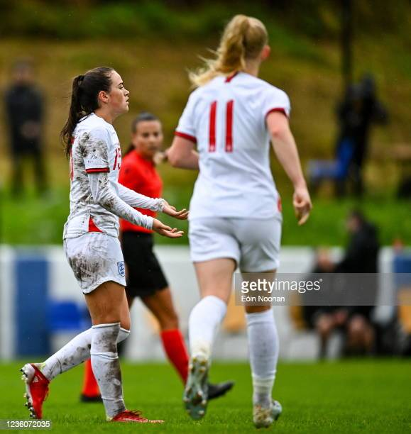 Limerick , Ireland - 23 October 2021; Grace Clinton of England celebrates after scoring her side's fourth goal during the UEFA Women's U19...