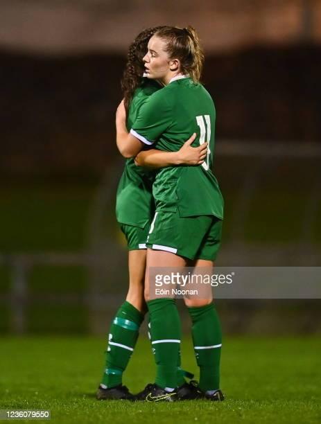 Limerick , Ireland - 23 October 2021; Kerryanne Brown of Republic of Ireland consoles team-mate Rebecca Watkins, left, after the UEFA Women's U19...