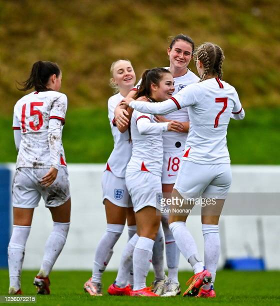 Limerick , Ireland - 23 October 2021; Lucy Parry of England celebrates after scoring her side's fifth goal during the UEFA Women's U19 Championship...