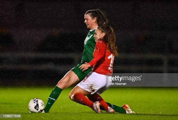 Limerick , Ireland - 23 October 2021; Maria Reynolds of Republic of Ireland in action against Alena Bienz of Switzerland during the UEFA Women's U19...