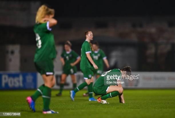 Limerick , Ireland - 23 October 2021; Maria Reynolds of Republic of Ireland reacts after the UEFA Women's U19 Championship Qualifier match between...